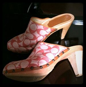 """COACH FELICITY PINK MULES size 7, 3"""" heels"""